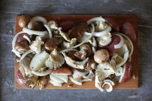 Cedar Planked Wild Mushrooms and Potatoes