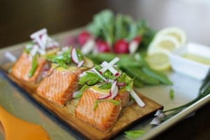 Planked Salmon with Lemony Radish and Snap Pea Salad