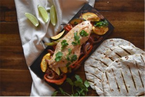 Rockfish and Vegetable Fajita on a Maple Plank
