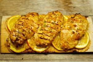 Orange Glazed Plank Grilled Chicken Breast