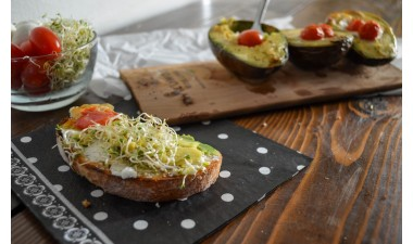 Avocado Toast on an Alder Grilling Plank