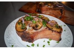 Pork Chops and Mushrooms on a Maple Plank