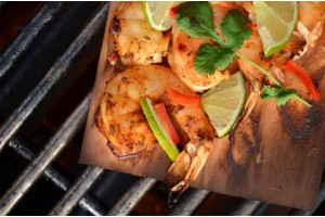 Plank Grilled Chile-Lime Shrimp