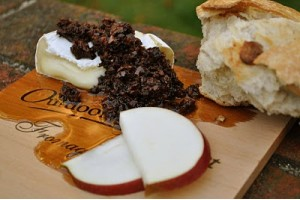 Maple Planked Brie Topped with Chanterelle Tapenade