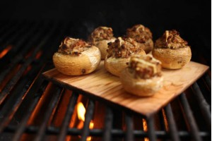 Cedar-Planked Wild Mushroom-Stuffed-Mushrooms