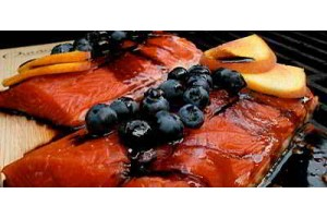Cedar Planked Salmon with Blueberry Reduction Sauce and Peach Salad